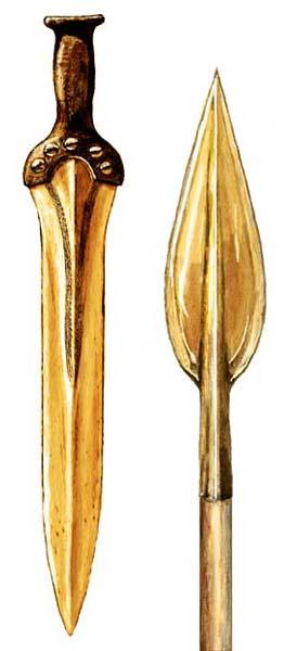 Een bronzen zwaard waarvan de greep met klinknagels is vastgezet. Rechts daarvan een bronzen lanspunt. (Tekening: Kelvin Wilson)