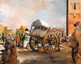 De Hof in Amersfoort omstreeks 1350: bewoners van het platteland komen hun waren verhandelen op de markt in de stad. De kerk staat middenin de stad en in het leven van de bewoners. (Tekening: Kelvin Wilson)