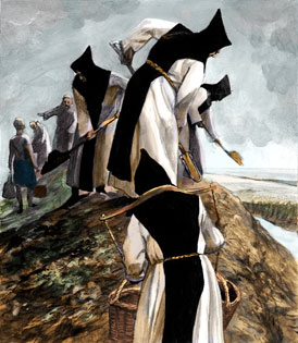 Veel kloosterlingen leverden een belangrijke bijdrage aan de ontginningen van moerassen en aan het aanleggen van dijken. (Tekening: Kelvin Wilson)