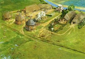 In de Late Middeleeuwen kregen Een gehucht op het platteland omsteeks 1100. Deze reconstructie van een boerennederzetting in de buurt van Kerk-Avezaath in de Betuwe kon worden gemaakt aan de hand van opgravingen. Het dorp zelf bestaat al lang niet meer. (Tekening: Kelvin Wilson)