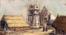 De kerk was het belangrijkste gebouw in een middeleeuws dorp of in een stad. Het duurde vaak vele jaren en kostte de bewoners veel geld en moeite, maar overal verrezen na het jaar 1000 kerkgebouwen. Veel ervan staan nog overeind, na vaak verbouwd te zijn. Middeleeuwse kerken zijn meestal de oudste nog bestaande gebouwen in dorp of stad. (Tekening: Kelvin Wilson)