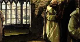 boven Kloosters waren in de eerste plaats bedoeld als plaatsen waar mensen zich helemaal aan God konden wijden. Maar het waren ook plaatsen waar kennis werd verzameld en waar belangrijke projecten werden gestart. (Tekening: Kelvin Wilson)