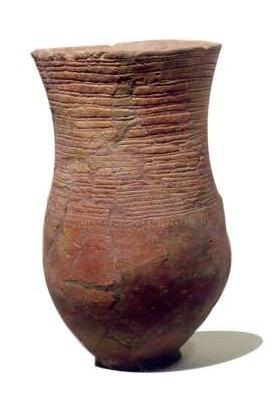 Deze slanke bekers, versierd met touwindrukken of met een ingekrast visgraatmotief en met een klein voetje, worden 'standvoetbekers' genoemd. Belangrijke mannen werden met zo'n beker begraven, vaak onder een grafheuvel. Bekers als deze zijn gebruikt tussen ongeveer 2900 en 2400 voor Christus. (Foto: Rijksmuseum van Oudheden)