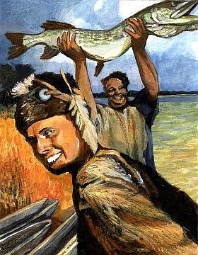 De bewoners van het natte westen van Nederland leefden behalve van de jacht ook van de visvangst. (Tekening: Kelvin Wilson)
