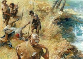 Een groepje jagers (Homo erectus) heeft twee wilde paarden in het nauw gedreven en gedood. (Tekening: Kelvin Wilson)