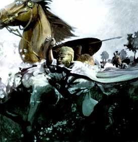 De Bataven stonden bij de Romeinen bekend als goede zwemmers. Er is een verslag hoe Bataafse hulpsoldaten gewapend en met hun paarden een rivier overstaken. (Tekening: Kelvin Wilson)
