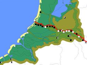 De noordwestelijke grens van het Romeinse Rijk liep vanaf ongeveer 47 na Christus langs de Rijn. Er lagen toen al grensforten bij Valkenburg (Zuid-Holland) en Vechten (Utrecht). Het noordelijkste fort dat de Romeinen ooit bouwden, bij Velsen, werd omstreeks die tijd verlaten. Achter de grens lag de stad Nijmegen waar altijd militairen waren gelegerd. (Kaart: Rijksdienst voor het Oudheidkundig Bodemonderzoek)