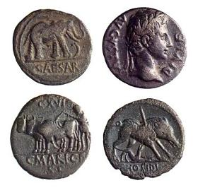 Munten waren meer dan alleen betaalmiddel. Ze dienden ook als propaganda voor de keizer doordat zijn portret erop stond, zoals op de munt rechtsboven van Augustus. Op de keerzijde stond vaak een symbolische afbeelding, zoals een olifant die een slang vertrapt op een munt van Julius Caesar. Deze munt was geslagen ter ere van één van Caesars overwinningen. (Foto: Museum Het Valkhof)