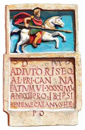 Grafsteen van Adiutor, een ruiter van het Eerste Cananefaten-regiment, die is gestorven is in Algerije. Waarschijnlijk was hij uit die streken afkomstig en niet uit Zuid-Holland. (Tekening: Kelvin Wilson)