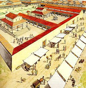 In 1920 zijn in Nijmegen twee tempeltjes uit de Romeinse tijd opgegraven. Dit soort tempels kwam in onze streken vaker voor: een vierkant gebouwtje met een zuilengalerij er omheen. (Tekening: Bob Brobbel)