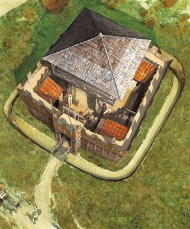 Langs de Rijn bouwden de Romeinen wachttorens om de grens goed in de gaten te kunnen houden. (Tekening: Kelvin Wilson)
