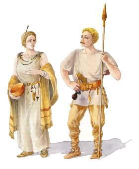Reconstructietekening van een vijfde-eeuwse Frankische krijger en zijn vrouw. (Tekening: Fiel van der Veen)